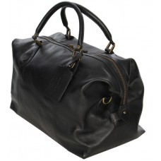 Barbour Bag Leather Medium Travel Explorer Black Unisex Holdall