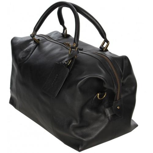 Barbour Bag Leather Medium Travel Explorer Black Unisex