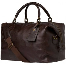Barbour Bag Leather Medium Travel Explorer Chocolate Unisex Holdall