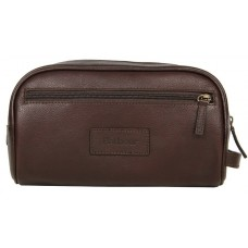 Barbour Bag Leather Washbag Chocolate