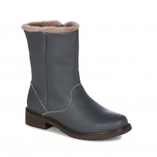 EMU Australia Kerie Waterproof Leather Sheepskin Lined Mid Calf Charcoal Boots
