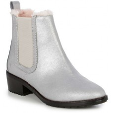 EMU Australia Ellin Chelsea Boot Style Leather Sheepskin Lined Mid Calf Silver/Argent Boots