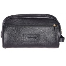 Barbour Bag Leather Washbag Black