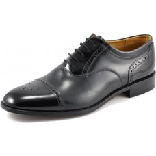 Loake Oxford Style Woodstock Mens Two Tone Black Leather Lace-up Shoes