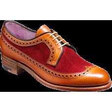 Barker Derby Wingtip Brogue Style Abbey Cedar Calf / Burgundy Suede Ladies Shoes