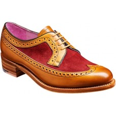 Barker Abbey Derby Wingtip Brogue Style Cedar Calf / Burgundy Red Suede Ladies Shoes