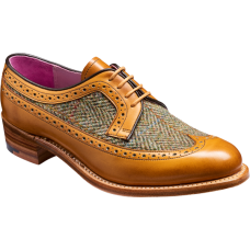 Barker Abbey Derby Wingtip Brogue Style Cedar Calf / Green Harris Tweed Ladies Shoes