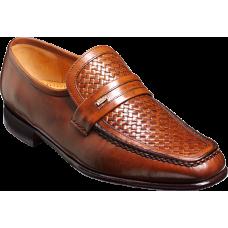 Barker Mocassin Style Adrian Chestnut Calf / Weave Leather Mocassins