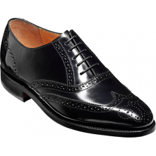 Barker Albert Black Hi-Shine Leather Brogues