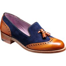 Barker Loafer Wingtip Style Amber Cedar Calf Blue Suede Ladies Shoes (03)