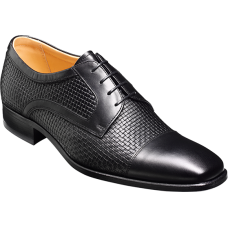 Barker Derby Toe Cap Style Deene Textured Black Calf Weave Mens Shoes