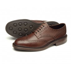 Badminton 2 Derby Brogue Brown Grain Mens Leather Shoes (10½)