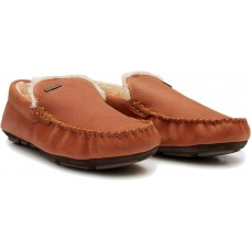 Barbour Montys Tan Leather Slippers