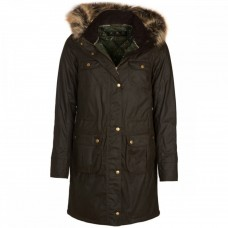 Barbour Jacket Fieldfare Wax Olive Ladies Hooded Coat