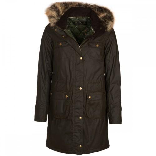 Barbour Jacket Fieldfare Wax Olive Ladies Hooded Coat