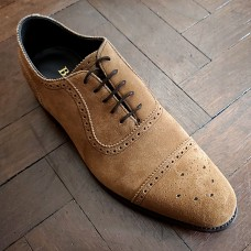 Barker Brogue Toe Cap Style Cola Suede Brown Mens Shoes (Size 10½)