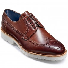 Barker Hawk Derby Brogue Style Mens Walnut Calf Leather Shoes (06)