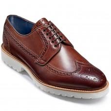 Barker Hawk Derby Brogue Style Mens Walnut Calf Leather Shoes (06)