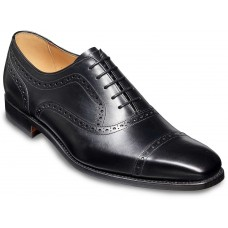Barker Luke Semi Brogue Oxford Black Calf Leather Mens Shoes (07)