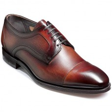 Barker Byron Derby Style Mens Brown Calf/Print Leather Shoes (09½)