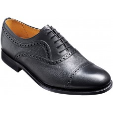Barker Southampton Toe Cap Oxford Black Calf/Deerskin Leather Mens Shoes (Size 09)