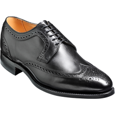 Barker Brogue Wingtip Style Bath Black Calf Mens Shoes