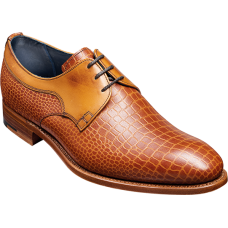Barker Benedict Derby Style Chestnut/Croc Calf Mens Leather Shoes (09)