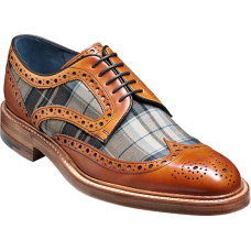 Barker Derby Brogue Wingtip Style Blair Cedar Calf / Check Fabric Mens Shoes