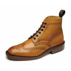 Loake Brogue Boots Style Burford Tan Leather Sole Mens Shoes