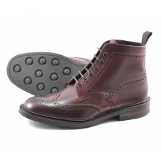 Loake Brogue Boots Style Burford Burgundy Rubber Sole Mens Shoes