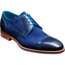 Barker Butler Derby Style Blue Calf/Navy Suede Leather Shoes