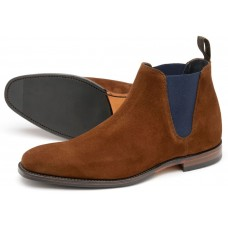 Loake Caine Chelsea Boots Brown Suede Navy Elastic Mens Shoes (09½)