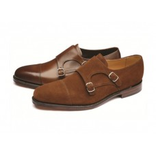 Loake Monk Style Double Buckle Cannon Brown Suede Shoes