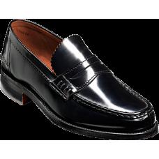 Barker Mocassin Caruso Black Hi-Shine Mens Slip On Shoes