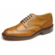 Loake Derby Style Brogue Chester Tan Leather Sole Mens Shoes