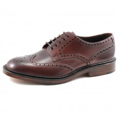 Loake Derby Style Brogue Chester Burgundy Leather Sole Mens Shoes (08)