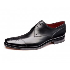 Loake Crawford Toe Cap Brogue Derby Lacing Black Shoes (07)