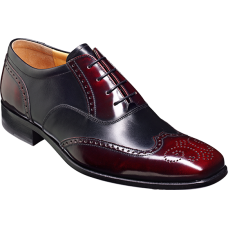 Barker Oxford Wingtip Style Dartford Burgundy Hi-Shine / Black Calf