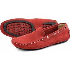 Loake Driving Shoe Style Donington Mens Red Suede Shoes (07)