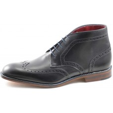 Loake Brogue Wingtip Ankle Boot Style Errington Mens Black Boots (07)
