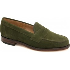 Loake Eton Green Suede Mens Penny Loafer Shoes (11)
