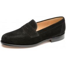 Loake Eton Black Suede Mens Penny Loafer Shoes (07½)