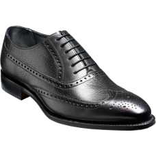 Barker Oxford Brogue Style Flore Mens Black Calf Grain Shoes (06)