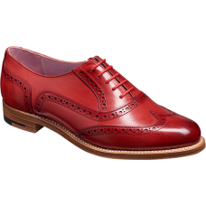 Barker Fearne Brogue Wingtip Style Ladies Red Hand Painted Leather Shoes