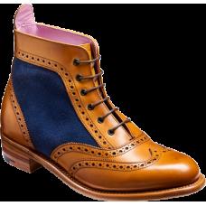 Barker Brogue Boot Style Grace Cedar Calf Blue Suede Wingtip Ladies Boots (03)
