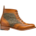 Barker Grace Brogue Boot Style Cedar Calf / Green Harris Tweed Wingtip Ladies Boots