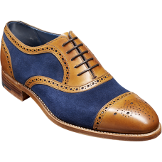 Barker Hursley Cedar Calf/Navy Suede Oxford Brogue Style Mens Shoes