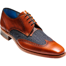 Barker Jackson Derby Wingtip Style Cedar Calf/Blue Tweed Mens Shoes (10½)