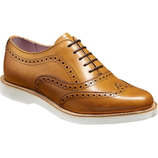 Barker Josie Oxford Brogue Wingtip Style Ladies Cedar Calf Leather Shoes