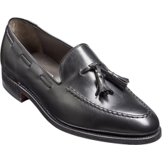 Barker Tassel Loafer Style Mens Black Leather Shoes (10)